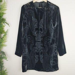 Zara Woman Black Sheer Dress Velvet Tunic Lined S